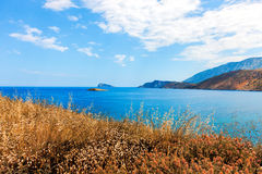View of Mirabello Bay and Pseira Island, Sitia, Crete. Greece Stock Photography