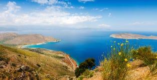 View of Mirabello Bay, Sitia, Crete. Panoramic view of Mirabello Bay, Sitia, Crete, Greece Royalty Free Stock Photography