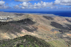 Valley Temisa and coast of ocean,  Lanzarote, Canary Islands, Sp Stock Image