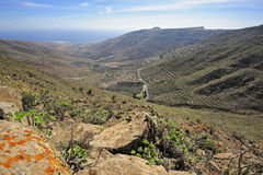 Valley Temisa and coast of ocean,  Lanzarote, Canary Islands, Sp Stock Photography