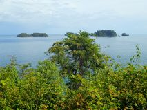 A view from Mirador de la Estacion Gambute over Islas Cocos, Parque Nacional de Isla Coiba, Panama.  royalty free stock photography