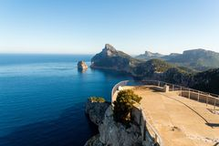 View from Mirador Es Colomer on a sunny day, Majorca, Spain. Beautiful view from Mirador Es Colomer on a sunny day, Majorca, Spain Royalty Free Stock Photos