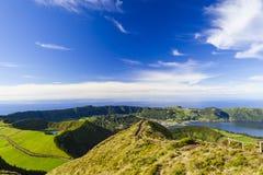 View from Miradouro da Boca do Inferno, Azores, Portugal. View from Miradouro da Boca do Inferno to the volcanic crater of Sete Citades, Lagoa Verde, Lagoa Azul royalty free stock image