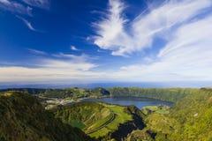 View from Miradouro da Boca do Inferno, Azores, Portugal. View from Miradouro da Boca do Inferno to the volcanic crater of Sete Citades, Lagoa Verde, Lagoa Azul stock photos