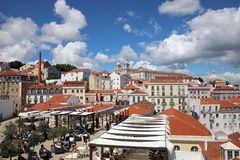 View from Miradouro de Santa Luzia to Alfama downtown in Lisbon. Portugal Royalty Free Stock Images