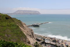 View at Miraflores Lima sea costline. Stock Photo