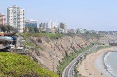 View at Miraflores Lima sea costline. Royalty Free Stock Photos