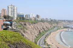View at Miraflores Lima sea costline. Stock Photography