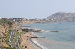 View at Miraflores Lima sea costline. Royalty Free Stock Photo