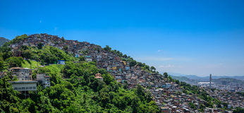 View from Mirante Dona Marta to the hill of the slum, favela Morro dos Prazeres in Rio de Janeiro, Brazil. View from Mirante Dona Marta located in Tijuca Forest stock photos