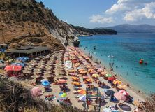 View of Mirrors Beach. Sarande, Albania - August 2018: View of Mirrors beach Plazhi Pasqyrave in a summer day royalty free stock photo