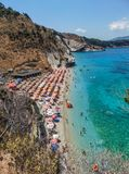 View of Mirrors Beach. Sarande, Albania - August 2018: View of Mirrors beach Plazhi Pasqyrave in a summer day royalty free stock photography