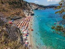 View of Mirrors Beach. Sarande, Albania - August 2018: View of Mirrors beach Plazhi Pasqyrave in a summer day stock images