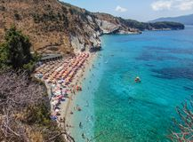 View of Mirrors Beach. Sarande, Albania - August 2018: View of Mirrors beach Plazhi Pasqyrave in a summer day stock photo