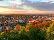 View of Miskolc, Hungary. At Sunset. Circa 2017 Royalty Free Stock Images
