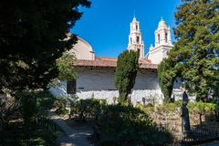 View on Mission Dolores in San Francisco from the graveyard royalty free stock images
