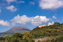 View of Missionari Redentoristi Colle Sant alfonso and Mount Vesuvius. View of Missionari Redentoristi Colle Sant alfonso with Mount Vesuvius in the background Royalty Free Stock Image