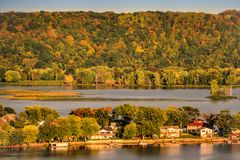 A View of the Mississippi River Near Guttenberg Iowa. A beautiful view of the Mississippi river, taken from a bluff near Guttenberg Iowa. Right for tourism and stock images