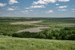 View of the Missouri river from a hill in Niobrara state park, Nebraska. Situated at the confluence of the Niobrara and Missouri rivers on Nebraska`s stock photography