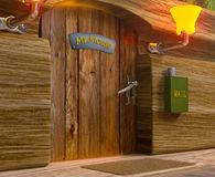 View on mister mouse home wooden door Royalty Free Stock Image