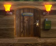 View on mister mouse home wooden door Royalty Free Stock Images