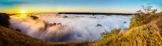 View misty dawn in the floodplain of a river Stock Photo