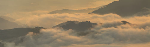 View of misty fog mountains in autumn Royalty Free Stock Photography