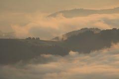 View of misty fog mountains , Carpathians Stock Photo
