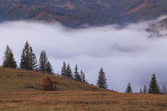 View of misty fog mountains Stock Photography