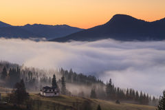 View of misty fog mountains Royalty Free Stock Photo