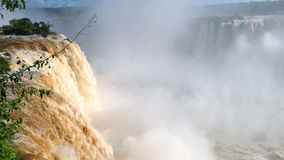 View of Misty Iguazu Waterfalls. In Brazil stock footage