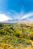 View of Misty Volcano in Arequipa, Peru, South America Royalty Free Stock Photography