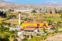 View of  Misty Volcano in Arequipa, Peru, South America Royalty Free Stock Photos