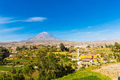 View of Misty Volcano in Arequipa, Peru, South America Royalty Free Stock Images