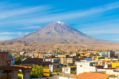 View of  Misty Volcano in Arequipa, Peru, South America Stock Image
