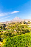 View of  Misty Volcano in Arequipa, Peru, South America Stock Photos