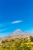 View of the Misty Volcano, Peru, South America Royalty Free Stock Photography