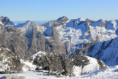 View from Mittelallalin Station. Overlooking glaciers and the highest peaks of the Swiss Alps. Royalty Free Stock Images