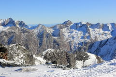 View from Mittelallalin Station. Overlooking glaciers and the highest peaks of the Swiss Alps. Royalty Free Stock Photo