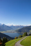 View From Mitterberg To Zell Am See Lake Zell & Kitzsteinhorn. Taken on October 1st, 2015 - Wonderful and sunny days in fall with also already some snow on the Stock Image