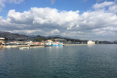 View of the Miyajima jetty at the sunny day Stock Photos