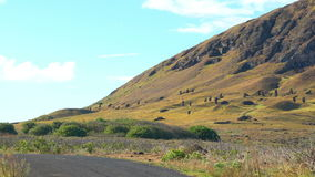 View of Moai in the quarry at the Volcano Rano Raraku stock footage