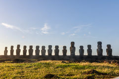 View of 15 moais, Ahu Tongariki, Easter Island, Chile Royalty Free Stock Images
