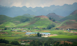 View of Moc Chau highland with moutain background. Vietnam royalty free stock photography