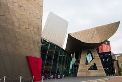 View of modern architectural buildings at the Lowry waterside arts complex at the Salford Quays. Manchester, United Kingdom - April 24, 2019: View of modern stock images