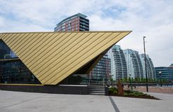 View of modern architectural buildings at the Salford Quays on the banks of the Manchester Ship Canal in Salford and Trafford,. Manchester, United Kingdom stock photography