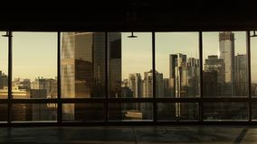 View modern architecture from building window in Beijing,sun pass through window. stock video footage
