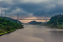 View on the modern architecture  Centennial bridge across the Panama Canal. stock images