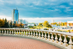 View of the modern architecture of Minsk, from the area Nyamiha, Royalty Free Stock Image
