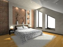 View on the modern bedroom Royalty Free Stock Photography